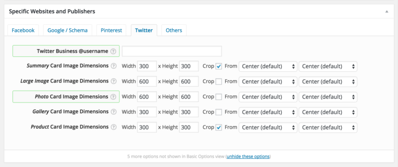 WPSSO Twitter Card Default Image Dimensions