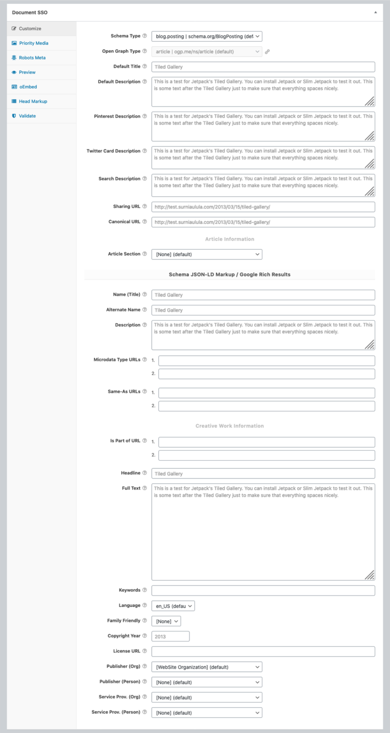 An example WPSSO Document SSO metabox Customize tab.