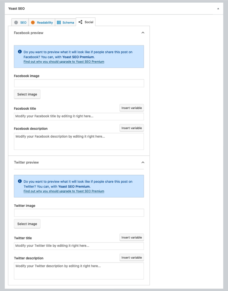 An example Yoast SEO metabox Social tab.